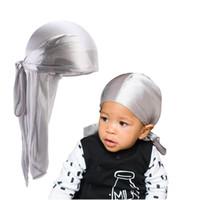 Wholesale child long hair resale online - Child Long Tail Headband Silky Breathable Bandanas Turban Hat Fashion Kids Cute Headwear Baby Party Hair Accessories TTA1017