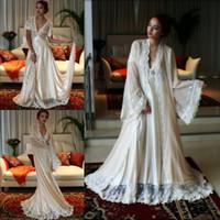 braut-nachthemden großhandel-Sexy Brautkleider Kleid Set 2 für Frauen Stücke tiefem V-Ausschnitt Spitze getrimmt benutzerdefinierte Langarm Dessous Braut Nachtwäsche Nachthemd Bademäntel