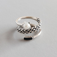 Wholesale three finger ring women online - New Silver Spiral Natural Freshwater Pearl Rings Anillos For Women Sterling Silver Three Layer Twist Knitting Finger Ring Bijoux Femme