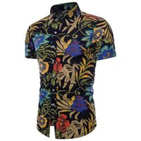 ingrosso pantaloncini di lino uomo-Vendita calda estate nuovi uomini casual stampa risvolto slim manica corta personalità camicia di fiori camicia di lino-BQ1302-TC07