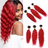 12 inç ombre saç uzantıları toptan satış-Derin Dalga Kıvırcık Ombre Kırmızı Bakire Saç Örgü Demetleri Iki Ton 1B Kırmızı Ombre Perulu İnsan Saç Atkı Uzantıları 300g Lot