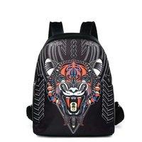 sacos de escola frescos da forma venda por atacado-Designer-2018 animal fresco menino tigre cabeça de Moda de Nova Mochilas homens de designer de computador Atacado Couro PU Backpack Escola Bags