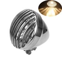 Wholesale chopper headlights resale online - High Quality Chrome Aluminum Grill Headlight H4 Halogen Bulb Round Front Lamp for Chopper Bobber