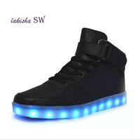 yüksek üst led ayakkabı toptan satış-Adam Parlak Ayakkabı Beyaz Siyah Işık Up For yetişkinler 2018 Sonbahar Kış Yüksek Top Ayakkabı için yeni Simülasyon LED Ayakkabı
