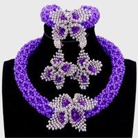 mor takılar setleri toptan satış-Dudo Romantik Kolye Seti Gelin Mor ve Gümüş Çiçekler Afrika Boncuk Takı Seti Nijeryalı Gerdanlık Mücevher Seti Gelin 2018