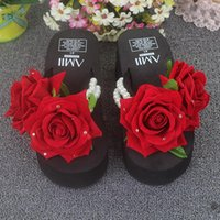 Wholesale rose slippers resale online - Handmade Wedges Chanclas Rose Flower Pearl Slippers Women High Heel Beach Flip Flops Summer Platform Sandals Zapatos Mujer