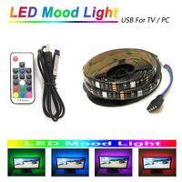 feux de télévision achat en gros de-Câble USB 5V LED Lumière d'ambiance pour moniteur TV PC 6.6ft 60LEDs 5050 RGB LED Bande lumineuse 17key RF Télécommande sans fil
