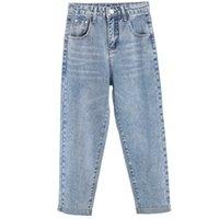 mavi harem pantolon kadınlar toptan satış-İlkbahar Sonbahar Kot Kadın Moda Mavi Yüksek Bel Gevşek Denim Kot Kadın Harem Pantolon Pantolon Erkek Arkadaşı
