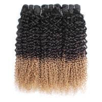 Wholesale curly hair extensions 27 resale online - T1B Jerry curly hair bundles remy Indian Brazilian Peruvian human hair extension tone curly hair