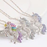 ingrosso catena di gioielli per le donne-collana di bambini e donne collana unicorno colorato ciondolo diamante collana bambini maglione gioielli accessori spedizione gratuita