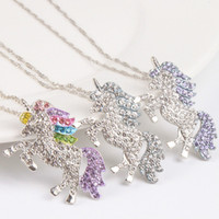 Wholesale kids chains for sale - Group buy kids and women necklace colorful unicorn diamond pendant necklace children sweater chain jewellery accessories
