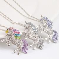elmas kadın kazak toptan satış-Çocuklar ve kadınlar kolye renkli unicorn elmas kolye kolye çocuk kazak zincir mücevher aksesuarları ücretsiz kargo
