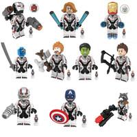 koruma blokları toptan satış-10 adet Avengers Mini Oyuncak Figürü Süper Kahraman Süper Kahraman Hulk Thor Tony Stark Şekil Yapı Taşı Oyuncak En Lider Markala ...