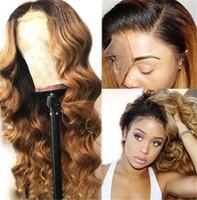 siyah kadınlar için ombre perukları toptan satış-Bal Sarışın İnsan Saç Peruk Ombre Dantel Ön Peruk 1B27 Dantel Ön Peruk Siyah Kadınlar Için Gevşek Dalga Tam Dantel Peruk