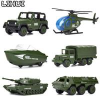 erkek çocuk oyuncakları kamyonlar toptan satış-6 Adettakım Askeri Serisi Mini Araba Alaşım Modeli Erkek Diecast Plastik Glide Araçlar Oyuncaklar Ordu Tankı Kamyon Hediyeler Çocuklar Için Q190604