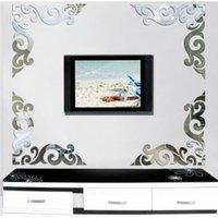 große abziehbilder spiegel großhandel-Details über Large Vines 3D Mirror Wandaufkleber Silber Gold Acryl Art DIY Home Modern Decal Details über Large Vines 3D Mirror Wand