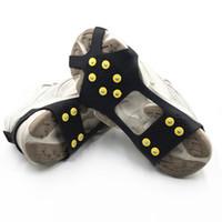 cubiertas de zapatos de hielo al por mayor-Hot 10 Postes de Acero hielo Tacos antideslizante nieve escalada en hielo de zapatos Spikes Grips Crampones grapas de Overshoes Escalada de agarre antideslizante Cubrezapatos