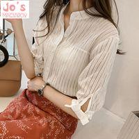 camisas de verano para mujer arcos al por mayor-Summer Korean Chiffon Womens Striped Bow Tops y blusas Ladies Casual Half Sleeve Kimono Chiffon Office Shirts Blusas Mujer