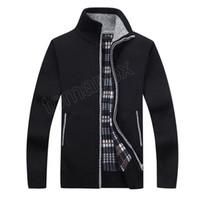 mens rahat kıyafet kazak toptan satış-Yeni 4XL 5XL Erkek Polar Kazak Sonbahar Kış Sıcak Kaşmir Elbise Ince Yağ Yün Fermuar Rahat Kazak Erkekler Örme Ceket AF1383