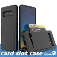 iphone rückseite großhandel-Für Samsung S10 HINWEIS 10 PLUS Fall Stoß- Side Kreditkartensteckplatz harten PC zurück Fall Deckung Protactor für iphone 11 pro x xr xs max