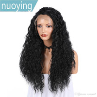 Wholesale wavy synthetic full lace wig for sale - Group buy Long Black Water Wave Wig Soft Synthetic Wavy Full Lace Front Wig Heat Resistant For Black Women Natural Hairlin Brazilian wig