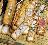 documentos de mapa al por mayor-30 unids / lote Vintage Fashion Retro Acient Map Theme Cool Paper Bookmark 4 * 15cm Envío Gratis