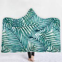 ingrosso piante da letto blu-Ananas vegetale tropicale Coperta con cappuccio Sherpa Fleece Blu oceano Indossabile peluche Coperta coperta sul letto Divano caldo spessa LE206