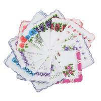 senhoras lenço floral venda por atacado-20 pçs / lote Algodão Lenço Quadrado Flor Para As Mulheres Adorável Onda Borda Lenços de Lenço Floral Senhoras Bordados Mão Toalha