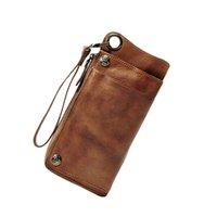 deri cüzdan etrafında fermuarlı toptan satış-Lüks El Yapımı Hakiki Deri Erkek Cüzdan Erkek Çanta Deri Uzun Cüzdan zip-around Debriyaj Çanta Erkek çanta Kadın Para çantası