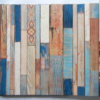 mural de madera al por mayor-Efecto 3D Aspecto de madera de color Mural Wallpaper Rolls Paper Decor Backdrops Barn Wall 10m Decoración del hogar