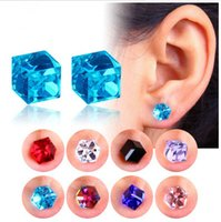 Wholesale magnets for earrings resale online - Crystal Earring Water Cube Health Magnet Color Non Perforated Earrings For Women Strong Magnetic Iron Ear Jewelry Colors