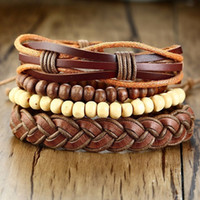 Wholesale beads bracelet for men brown for sale - Group buy Brown Wood Bead Multilayer Stackable Leather Bracelet for Men Jewelry Adjustable Wristband