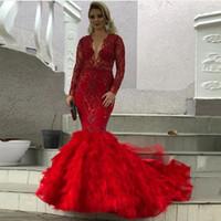 saia trompete longa venda por atacado-Plus Size Sereia Red Dresses Prom Pageant com manga comprida 2020 Sparkly Lace Sequins Tiered Ruffles saia Trumpet Dubai vestidos de noite