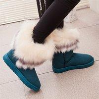 venda de botas longas venda por atacado-Hot Sale-Fox Fur quente de outono Cunhas da neve do inverno Fox Neve Mulheres Austrália Botas Sapatos Genuinei Mitation Lady Curto Botas Casual Longo Neve