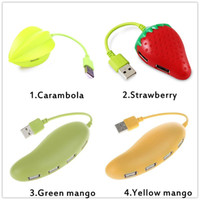Wholesale tablet stock resale online - cute fruit style Carambola Mango Strawberry Shape Mbps Ports USB Hub for Laptop Tablet PC Mice Keyboard