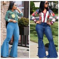 pantalons jeans femme s vintage achat en gros de-Femmes Flare Jeans Pantalon Slim Sexy Casual Vintage Bootcut jambe large évasée Jeans Bureau Lady Bell Bas Denim Pants LJJA2583
