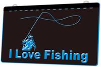 neon de pesca venda por atacado-LS1107-b-Eu-Amor-Pesca-Peixe-Esporte-Bar-Neon-Light-Sign.jpg Decor Frete Grátis Dropshipping Atacado 8 cores para escolher