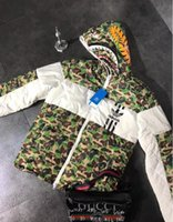 erkekler için pamuklu motosiklet ceketi toptan satış-XXMBAPE patlama erkekler hip hop kanye batı motosiklet yüksek kaliteli ceket Üç Spor Pamuk ceket barlar