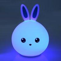kaninchen nacht lichter großhandel-USB Lovely Rabbit Silikon LED Nachtlicht