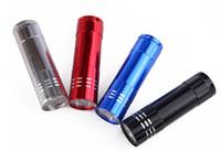 precios de la linterna al por mayor-Precio barato Portátil 9 CREE LED Luz UV Linterna Senderismo Antorcha Aleación de aluminio Detección de dinero LED Lámpara de luz UV con caja