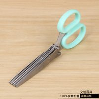 Wholesale Stainless Steel Multi storey Kitchen Scissors Chopped Green Onion Layer Scissors Bring Sweep Plug in Card Dress