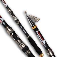 caña de pescar 2.7m al por mayor-MAMBA CARBON Fiber Fibra Cañas de spinning 2.1m / 2.4m / 2.7m / 3.0m // 3.6m Spinning Rod Superhard para agua dulce salada