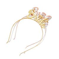 bandeau d'oreille en or achat en gros de-Oreilles de chat couronne diadème bandeaux pour femmes cheveux or argent lettre de la mariée princesse creux bandeau oreilles de chat lunette mignon cheveux accessoires -p