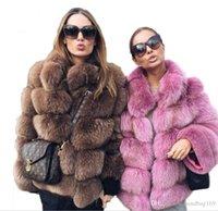 ingrosso maglia collare della pelliccia di volpe-Faux delle donne della pelliccia di Fox del cappotto nuovo inverno delle donne Coat Plus Size stand colletto a maniche lunghe Faux Fur Jacket Gilet della pelliccia fourrure