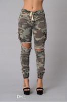 mulher mais tamanho calça jeans venda por atacado-2018 Moda Camo Jeans Skinny Jeans Mulher Camuflagem Jeans Magro Grande Buraco Pant Plus Size S-XL