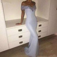 frauen lavendel kleid großhandel-Lavendel Lila Pailletten Meerjungfrau Mantel Damen Abendkleid Bodenlangen Schulterfrei Einfache Modest Formal Maxi Kleider Custom MADE