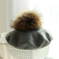 ingrosso berretti di pelliccia-Donna Casual Berretti di lana Cappelli spessi Warm Raccoon Fur Pom Knitted Cashmere Berets Cappelli Girl's Cap
