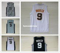 tony parker jersey kaufen großhandel-Basketball-Trikot der Männer Tony Parker # 9 Jerseys Stickerei Hochwertiges weißes graues schwarzes Tarnungssport-Hemdgroßverkauf Ncaa