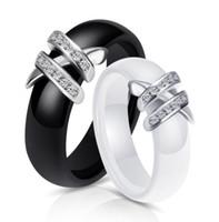 zircônia cerâmica china venda por atacado-Atacado Branco Preto Cerâmica Anéis de Zircônia Para As Mulheres de Ouro de Aço Inoxidável Preto E Branco Duplo X Anel de Diamante Presente de Casamento