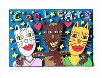 Wholesale cool abstract art paintings for sale - Group buy James Rizzi COOL CATS Home Decor Handpainted Oil Paintings On Canvas Wall Art Pictures